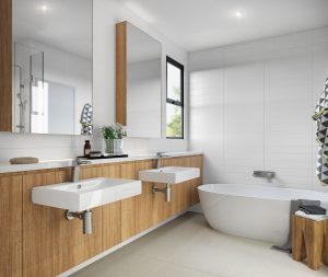 Render of the master bathroom showing double sinks and freestanding bath
