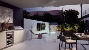Render of outdoor deck, pool and landscaped area of Oxley & Bowen New Farm