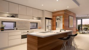 Render of the kitchen at Oxley and Bowen - new farm