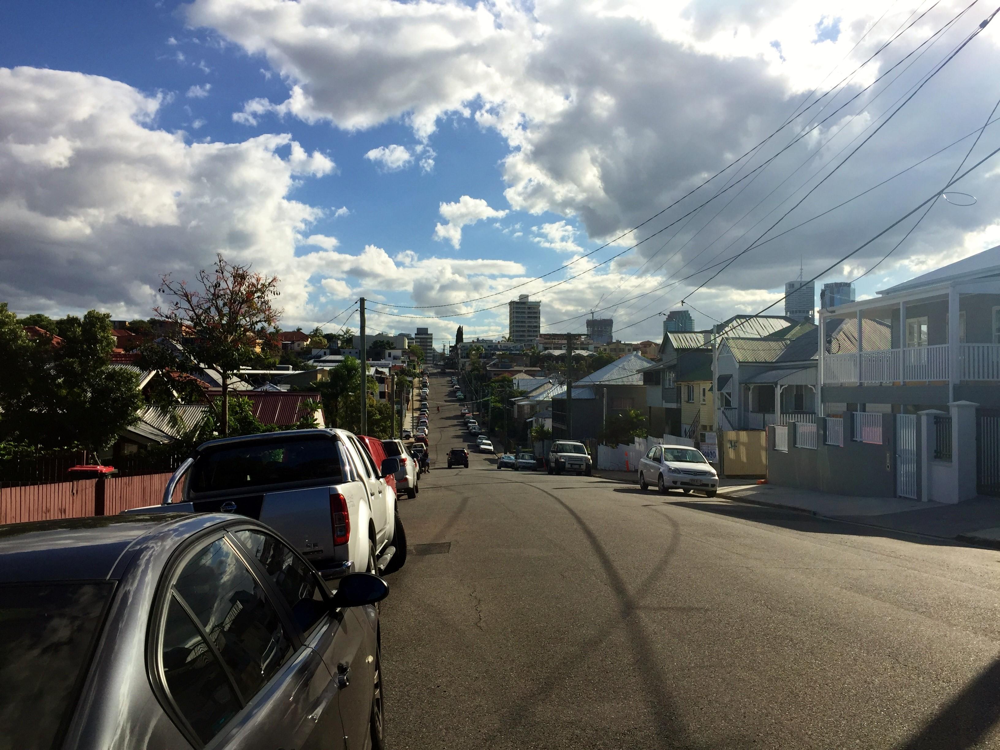 Looking down Annie Street, toward Brunswick Street, close to Liv 4005