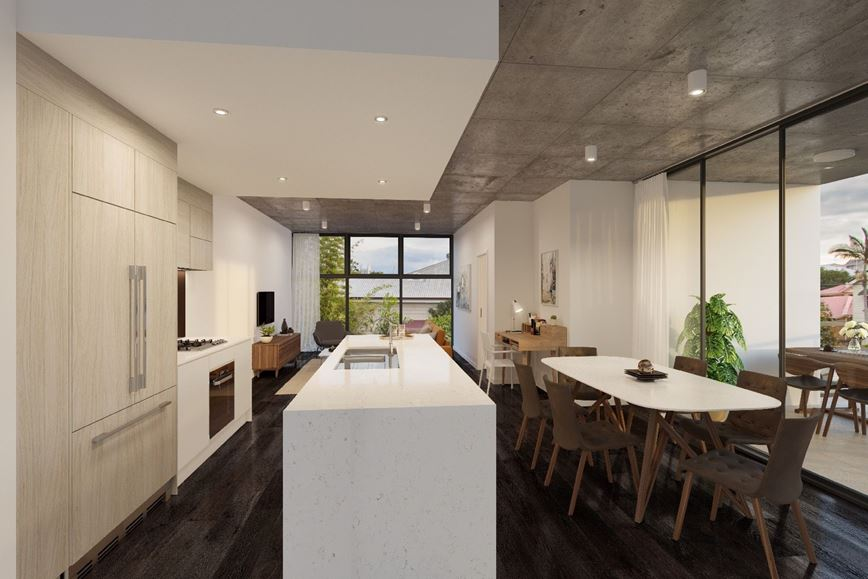 Ballade Residences Dark Kitchen and Dining Area