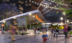 Rendering of the proposed 'station precinct' at Woolloongabba