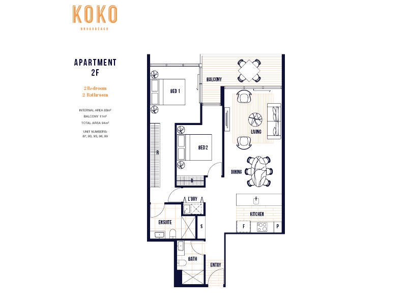 Koko Broadbeach. Floor plan 2F