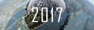 2017 with an aerial view of Brisbane and the river