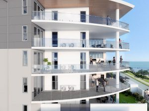 The VUE apartments Scarborough balcony view. Render by Develop2U.
