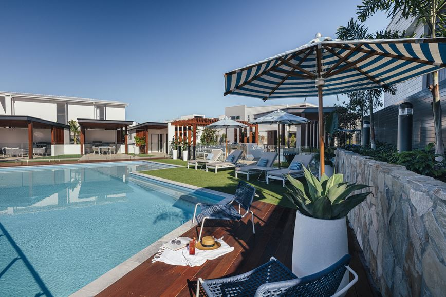 Vue Terrace Homes Pool and Relaxation Area
