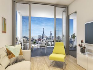 Artist Impression of Mint Residences Windsor lounge and balcony